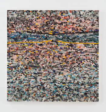 Quantum Wall, VIII (For Arshile Gorky, My First Love In Painting) (2017) by Jack Whitten. Image courtesy of Hauser & Wirth
