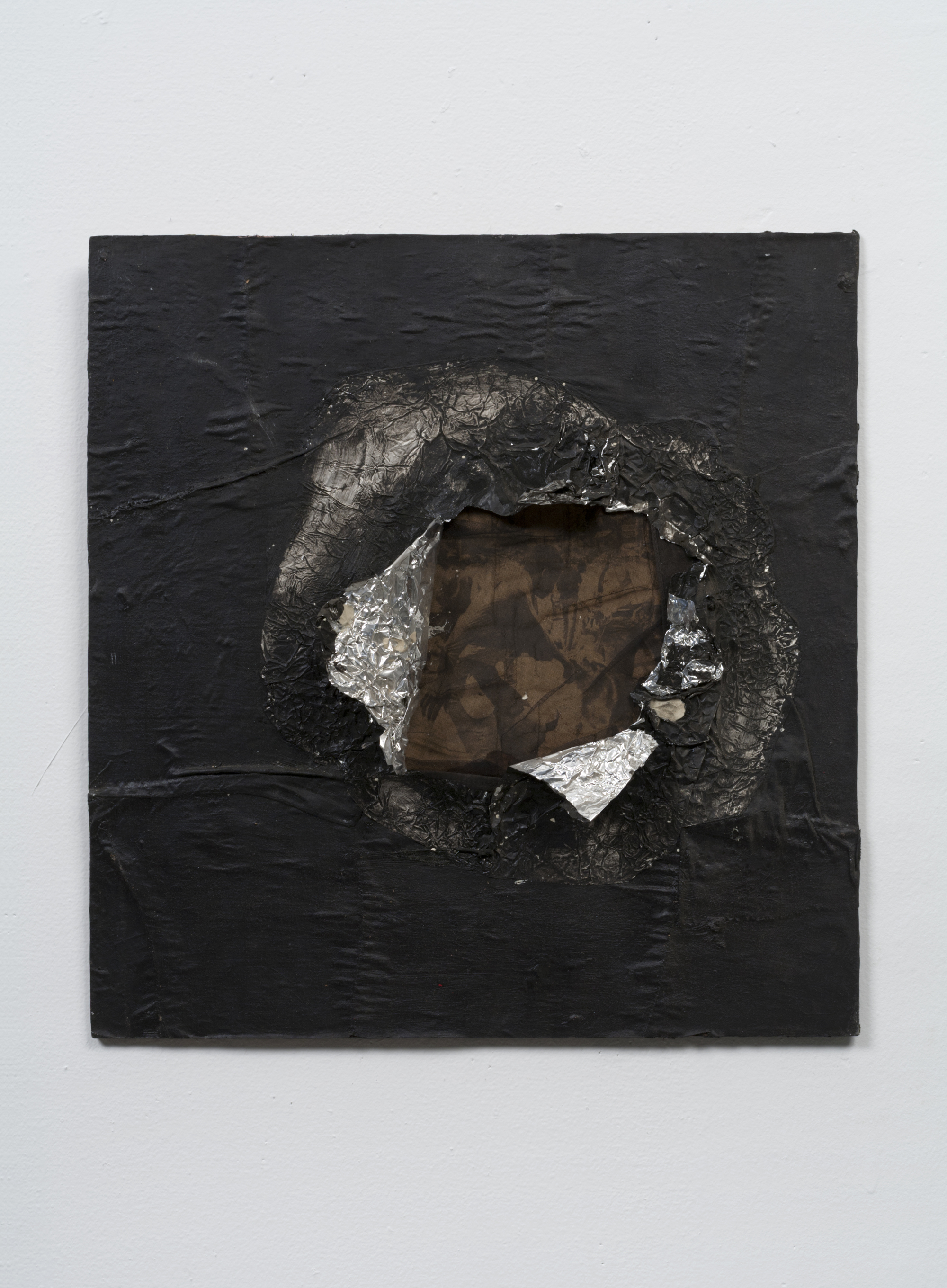 Jack Whitten, Birmingham, 1964. Aluminum foil, newsprint, stocking, and oil on plywood 16 5/8 x 16 in (42.2 x 40.6 cm). Collection Joel Wachs. © Courtesy the Jack Whitten Estate and Hauser & Wirth