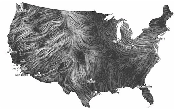 The Wind Map, 2012, by Fernanda Bertini Viégas and Marten Wattenberg. From Map