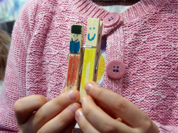 Some clothes-peg people created by Laura Carlin's pupils at The Big Draw event
