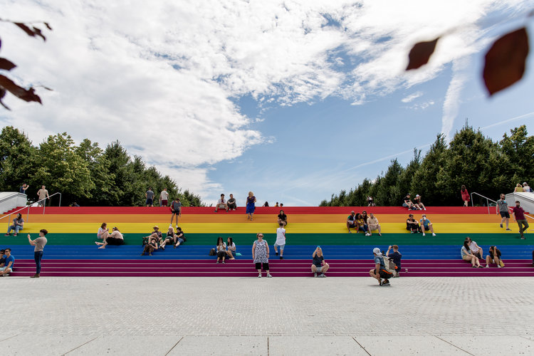 The Pride flag on the steps at the Four Freedoms Park in New York. Photograph by Cory Antiel