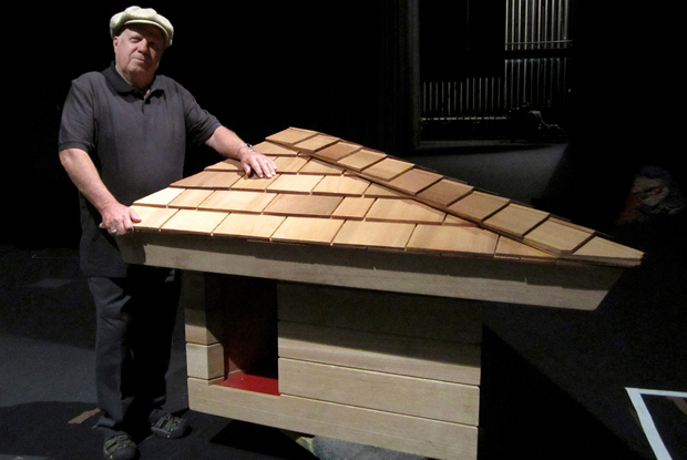 Jim Berger and the FLW-designed doghouse - photo by Alisse Gratehouse AP