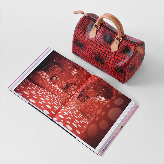 Yayoi Kusama x Louis Vuitton Speedy 30 and a spread from our book showing the artist's 1998 Dots Obsession installation in Toulouse, France. Image courtesy of Hypebae