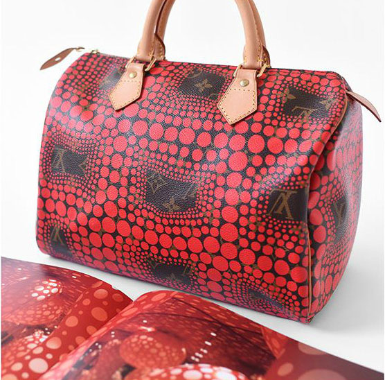 cb75545ac8e4 Yayoi Kusama x Louis Vuitton red Speedy 30 and a spread from our book  showing the