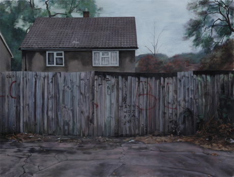 George Shaw, <em>Young Lovers Don't</em> (2010) Humbrol enamel on board