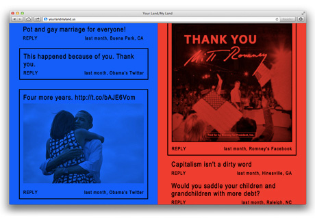 Your Land / My Land website for Jonathan Horowitz (2012)