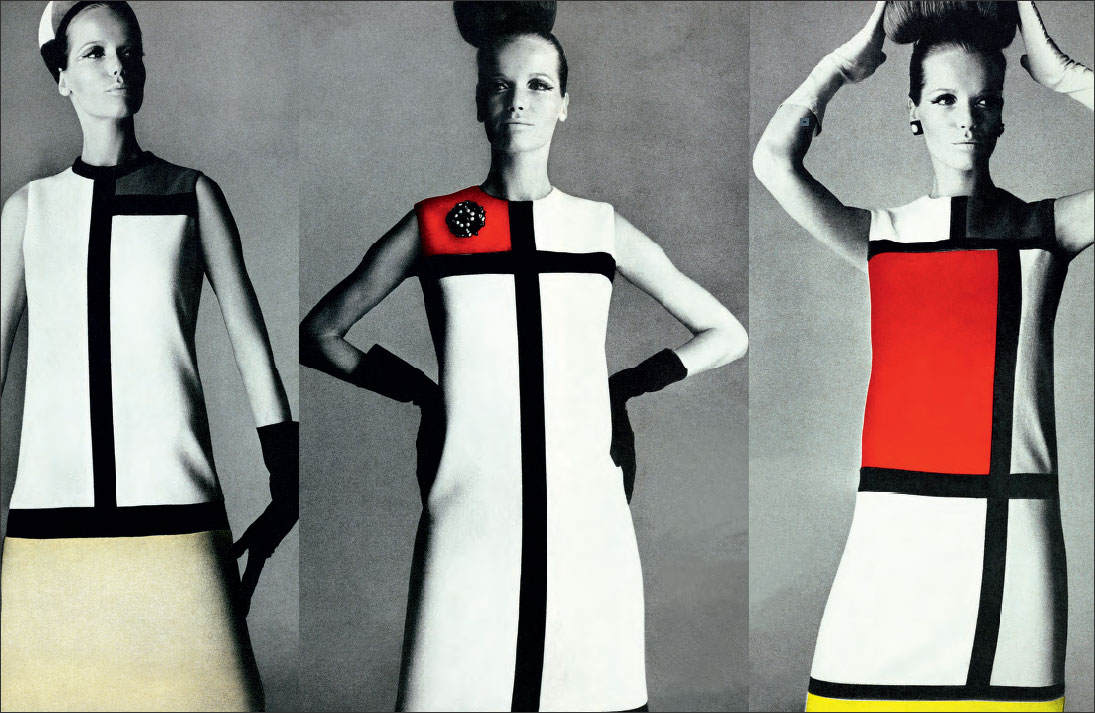 Black diamanté and white pearl earrings (made by Scemama), clip-on topaz and red and green diamanté star ornament (made by Scemama), worn with Piet Mondrian-inspired cocktail dresses, Autumn/Winter 1965 haute couture collection, Vogue (US), September 1965 (photographs by Irving Penn from our book YSL Accessories)