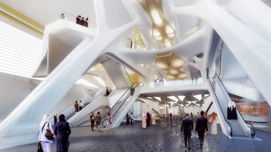 Zaha Hadid's designs for The King Abdullah Financial District metro station, Riyadh, Saudi Arabia