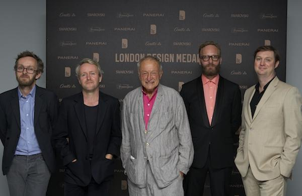 Erwan and Ronan Bouroullec (left) with Richard Rogers, winner of the Coutts Lifetime Achievement Medal, Nicholas Roope, founder of Poke and winner of the Perrier-Jouët Design Entrepreneur Medal and Roland Lamb, designer of the award-winning Seaboard who was awarded the Swarovski Emerging Talent Medal